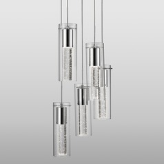 Modern Chrome LED Multi-Light Pendant with Clear Shade 3000K 3000LM