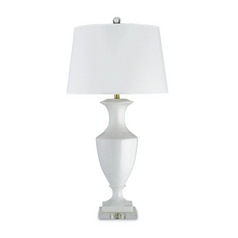 Table Lamp with White Paper Shade in White/clear Finish