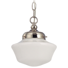 8-Inch Schoolhouse Mini-Pendant Light with Opal Schoolhouse Glass