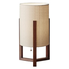 Adesso Home Quinn Walnut Table Lamp with Cylindrical Shade