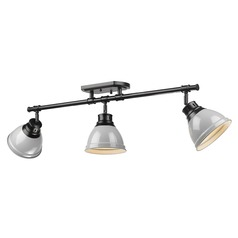Golden Lighting Duncan Black Track Light Kit with Grey Shade