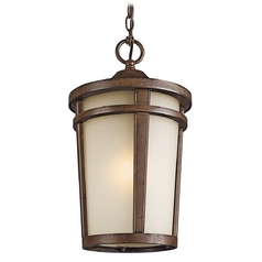 Kichler Modern Outdoor Hanging Light in Brown Stone Finish