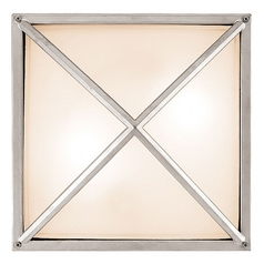 Outdoor Wall Light with White Glass in Satin Nickel Finish