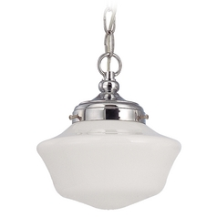 8-Inch Mini-Pendant Light with Schoolhouse Glass and Chain