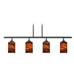 Modern Island Light with Brown Glass in Matte Black Finish