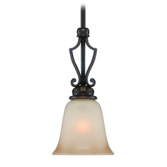 Craftmade Josephine Antique Bronze, Gold Accents Mini-Pendant Light with Bell Shade