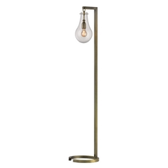 Floor Lamp with Clear Glass in Antique Brass Finish