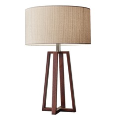 Adesso Home Quinn Walnut Table Lamp with Drum Shade