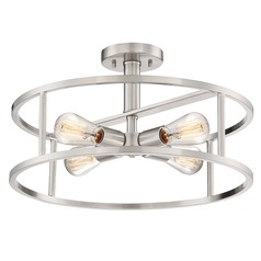 Industrial Semi-Flushmount Light Brushed Nickel New Harbor by Quoizel Lighting