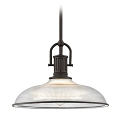 Industrial Farmhouse Prismatic Glass Pendant Light Bronze 14.38-Inch Wide