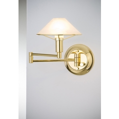 Holtkoetter Modern Swing Arm Lamp with Alabaster Glass in Polished Brass Finish
