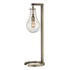 Table Lamp with Clear Glass in Antique Brass Finish
