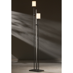 Hubbardton Forge Lighting Rook Dark Smoke Torchiere Lamp with Cylindrical Shade