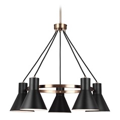 Mid-Century Modern Chandelier Bronze Towner by Sea Gull Lighting
