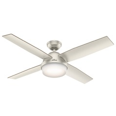 Hunter 52-Inch Matte Nickel LED Ceiling Fan with Light with Hand-Held Remote
