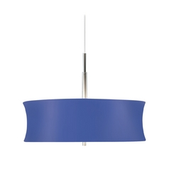 Sonneman Lighting Modern Pendant Light with Blue Tapered Drum Shade  3136.10B