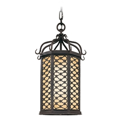 Outdoor Hanging Light with Clear Glass in Old Iron Finish