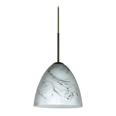 Modern Pendant Light with Grey Glass in Bronze Finish