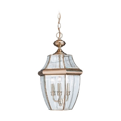 Sea Gull Lighting Products Outdoor Hanging Light with Clear Glass in Polished Brass Finish 6039-02