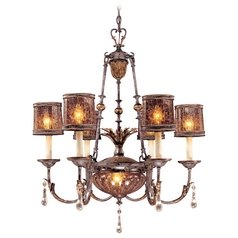 Chandelier with Amber Glass in Sanguesa Patina Finish