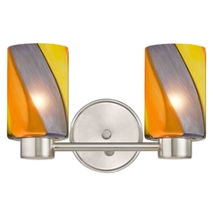 Aon Fuse Modern Satin Nickel Bathroom Light with Cylinder Glass