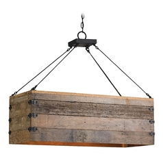 Currey and Company Lighting Natural / Black Smith Pendant Light with Rectangle Shade