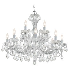 Crystorama Maria Theresa 2-Tier 12-Light Crystal Chandelier in Polished Chrome