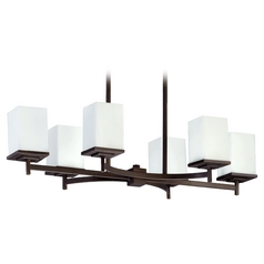 Quorum Lighting Delta Oiled Bronze Island Light with Rectangle Shade