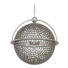 Kalco Lighting Marrero Aged Silver Pendant Light with Globe Shade
