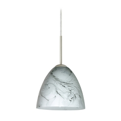 Modern Pendant Light Marble Grigio Glass Satin Nickel by Besa Lighting