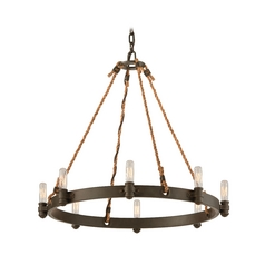Nautical Pendant Light with Rope Accents in Bronze Finish