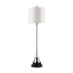 Table Lamp with White Paper Shade in Nickel/Black Finish