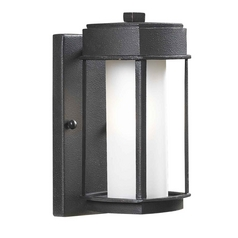 Modern Outdoor Wall Light with White Glass in Copper Bronze Finish