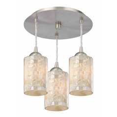 3-Light Semi-Flush Light with Mosaic Glass - Nickel Finish