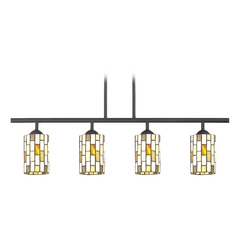 Design Classics Lighting Island Light with Multi-Color Glass in Matte Black Finish 718-07 GL1038