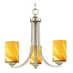 Satin Nickel Mini-Chandelier with Butterscotch Art Glass
