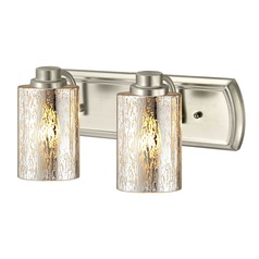 Industrial Mercury Glass 2-Light Bathroom Light in Satin Nickel