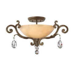 Semi-Flushmount Light with Alabaster Glass in French Marble Finish