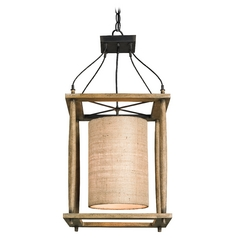 Currey and Company Lighting Reclaimed Wood / Black Smith Pendant Light with Cylindrical Shade