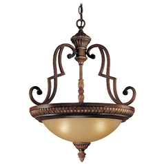 Pendant Light with Beige / Cream Glass in Belcaro Walnut Finish