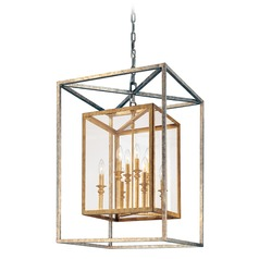Modern Pendant Light with Clear Glass in Gold Silver Leaf Finish