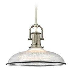 Industrial Prismatic Glass Pendant Light Black / Nickel 14.38-Inch Wide