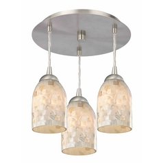 3-Light Semi-Flush Light with Mosaic Dome Glass - Nickel Finish