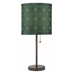 Bronze Pull-Chain Table Lamp with Green Patterned Drum Shade