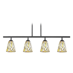 Tiffany Glass 4 Lt Linear Pendant Light with 4-Lights