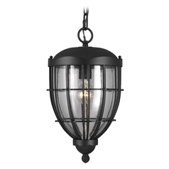 Seeded Glass Outdoor Hanging Light Black Feiss Lighting