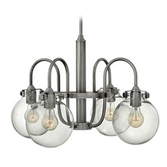 Hinkley Congress 4-Light Chandelier with Clear Globe Glass in Antique Nickel