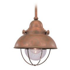 Marine / Nautical Seeded Water LED Outdoor Hanging Light Copper Sebring by Sea Gull Lighting