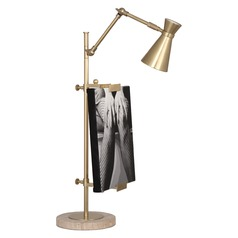 Robert Abbey Jonathan Adler Bristol Antique Brass / Travertine Table Lamp with Conical Shade