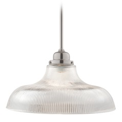 Hudson Valley Lighting Edison Collection Satin Nickel Pendant Light with Bowl / Dome Shade